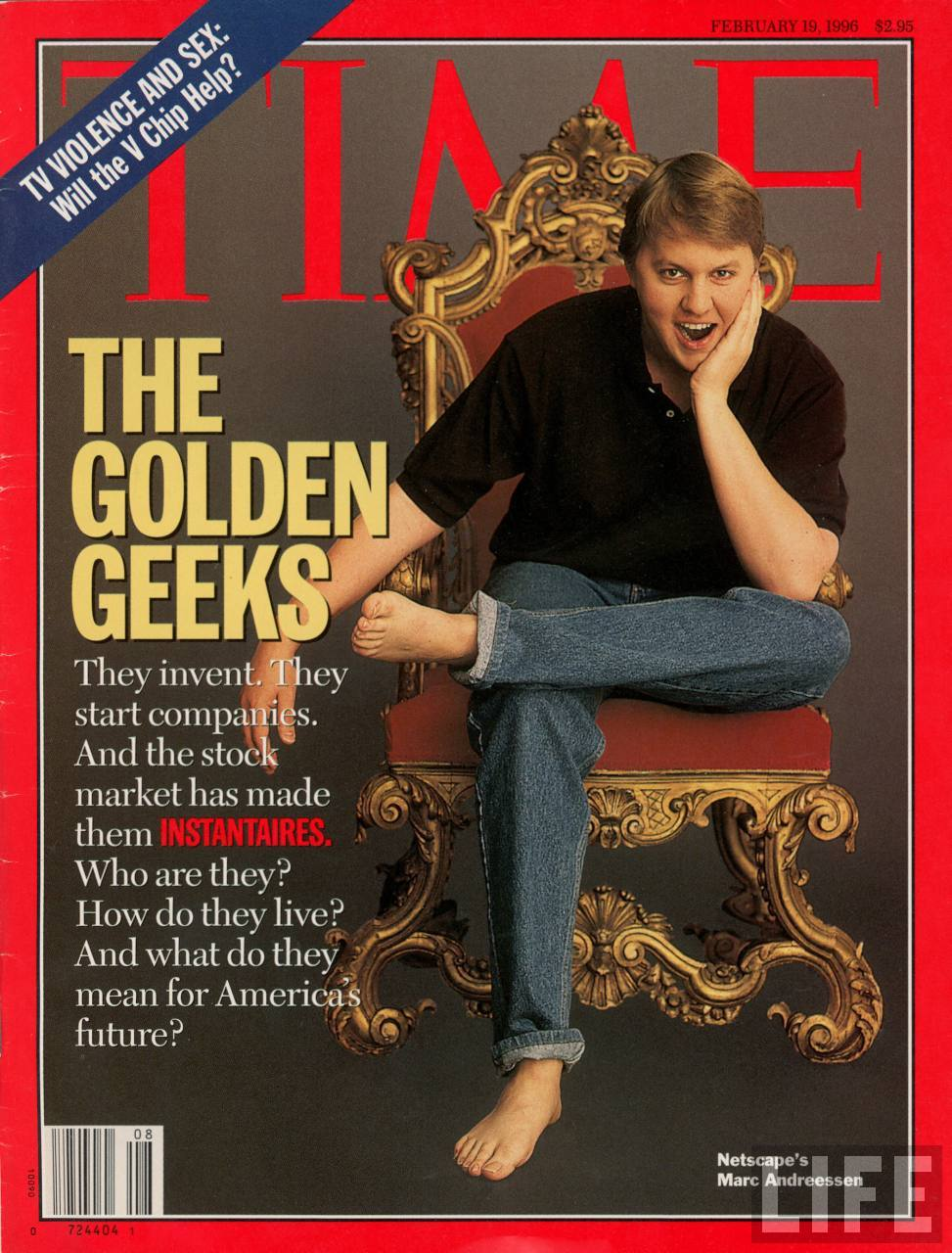 Vintage porn mag adverts Marc Andreessen on the cover of Time Magazine, February 19, 1996
