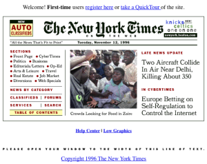 an early NYTimes.com homepage