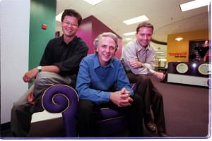 Jerry Yang, Tim Koogle,  and Jeff Mallett, Yahoo's eventual COO.