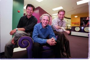 Jerry Yang, Tim Koogle,  and Jeff Mallett, Yahoo's eventual COO.