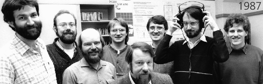 The Fraunhofer MP3 team in 1987 (from left): Harald Popp, Stefan Krägeloh, Hartmut Schott, Bernhard Grill, Heinz Gerhäuser, Ernst Eberlein, Karlheinz Brandenburg und Thomas Sporer