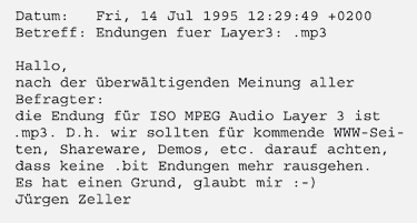 The original email, settling upon the MP3 name.