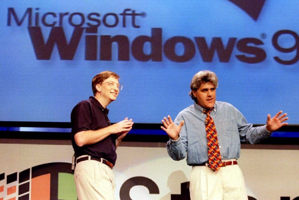 Bill Gates and Jay Leno at the Windows 95 Launch